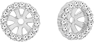 Best white gold diamond round earring jackets Reviews