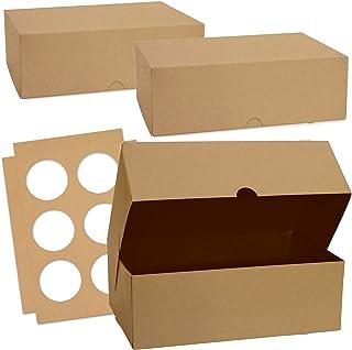 ScrapCooking - Lot de 2 Boîtes à Cupcakes - Carton Kraft Alimentaire Recyclable - 17 x 25 x 8,5 cm - pour Transport 6 Cupc...