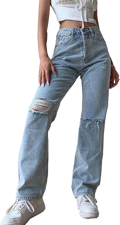 TWFRHC Womens Ripped Jeans High Waist Loose Straight Ankle Boyfriend Wide Legs Denim Pants