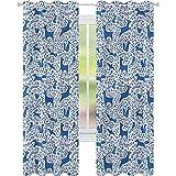Cortinas para sala de estar Woodland Floral Element Silhouettes W52 x L72 cortina de reducción de ruido