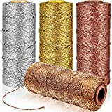 4 Rolls Metallic Bakers Twine 110 Yards Christmas Decorative Wrapping Twine String for DIY Crafts Packing Materials (Gold, Silver, Orange Rose, Gold)