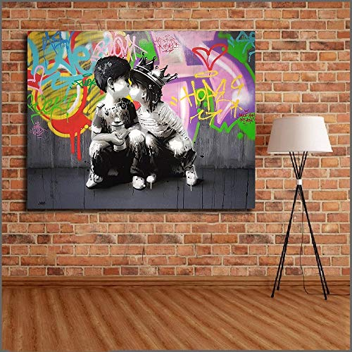Groot abstract olieverfschilderij graffiti canvas kunst muur en slaapkamer fotolijst frameloze schilderij 90x120cm