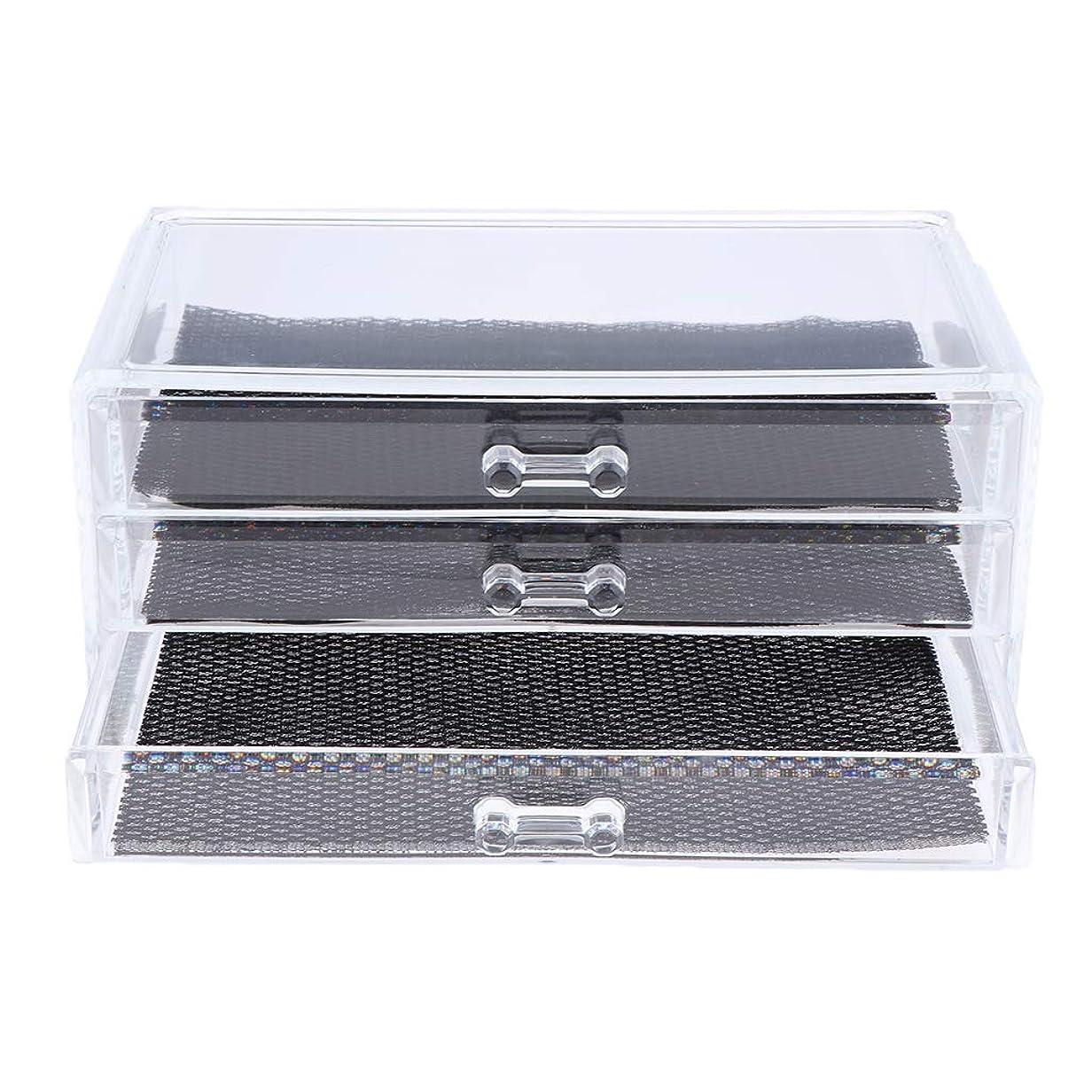 ロマンチック突っ込むリブ化粧品収納ボックス メイクケース 化粧品収納整理 防塵 透明 コスメ収納ボックス 引き出し式 全3種 - 3つの引き出し