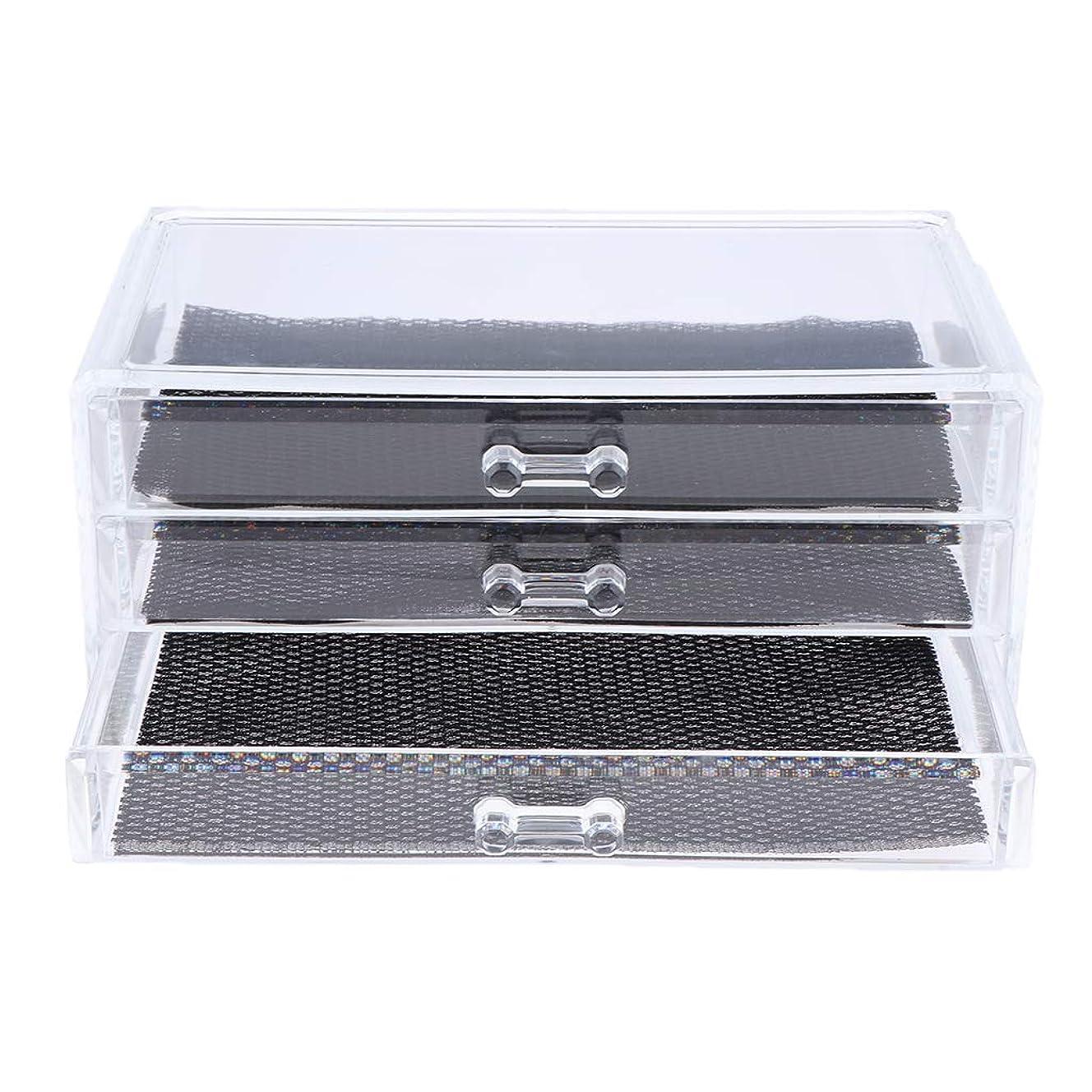噛むフリンジ征服Perfeclan 化粧品収納ボックス メイクケース 化粧品収納整理 防塵 透明 コスメ収納ボックス 引き出し式 全3種 - 3つの引き出し