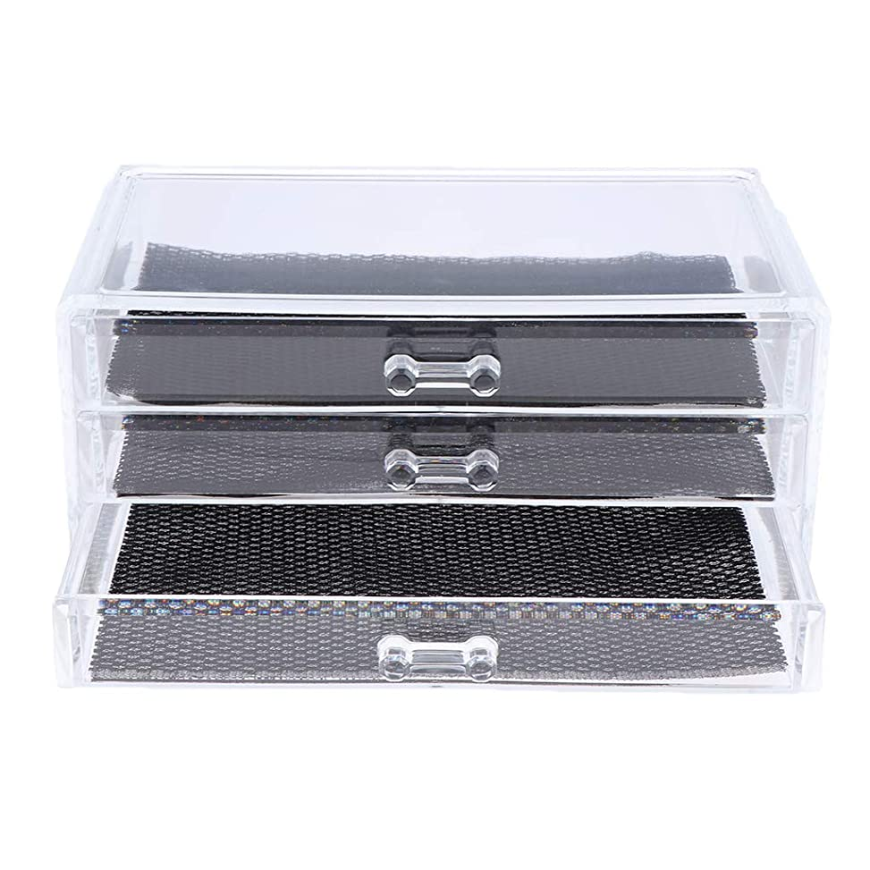 Perfeclan 化粧品収納ボックス メイクケース 化粧品収納整理 防塵 透明 コスメ収納ボックス 引き出し式 全3種 - 3つの引き出し