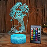 SZLTZK Mermaid 3D Illusion Lamp for Girl Mermaid Lamp Christmas Birthday Gift The Little Mermaid LED Night Light 16 Colors Changing for Kids Boy Child