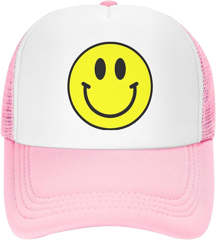 SeanAshby Yellow Logo Smile Adjustable Neon Foam Mesh Baseball Hat Pink Y2k Trucker Cap for Woman