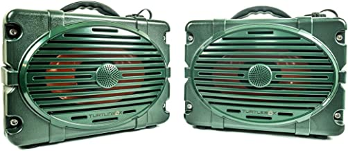 Turtlebox: Set of 2 Waterproof Bluetooth Speakers ~ Pair for True L-R Stereo Sound | 50+ Hour Battery, Loud! up to 120db | Rugged for Outdoors IP67 - Hunting, Fishing, Sports, Camping, Boating, ATV