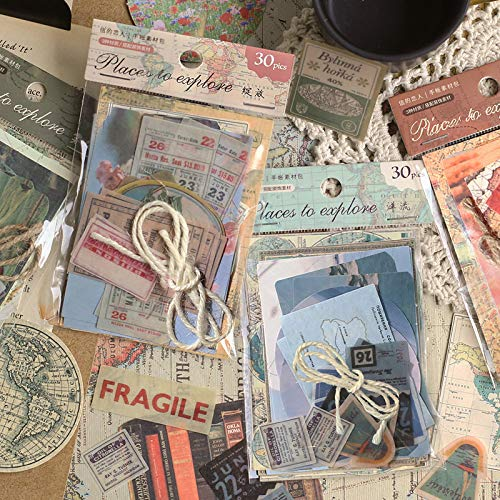 DSSJ Explore The Land Bolsa de Material de Cuenta de Mano Etiqueta Antiadherente Decoración de Mapa Retro literario Etiqueta de Cuenta de Mano 30
