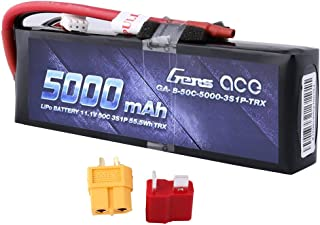 Gens ace 5000mAh 11.1V 3S 50C 3 Cell LiPo Battery Pack with XT60 and Deans Plug (Updated)..