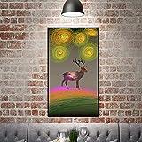 Cartel de pintura de ciervos de dibujos animados de estilo nórdico y pintura de lienzo de pared sala de estar y habitación de niños decoración del hogar pintura de lona pintura sin marco 50x80 cm