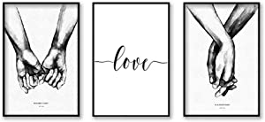 3 Pcs Canvas Print Hand in Hand Wall Art Poster Black And White Art Deco living Room Bedroom Study Painting for Home Decorations (15.7x23.6 in)