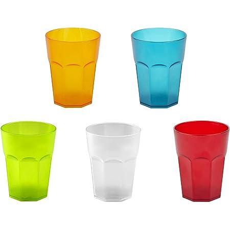 ENGELLAND 5X Kunststoffbecher Trinkbecher Party-Becher Plastikbecher Trink-Gl/äser Mehrweg Coktailbecher Gr/ün//Neongr/ün 0,25l