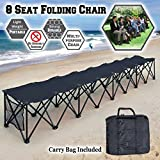 BenefitUSA Sports Sideline Bench 3/4/8 Seater Portable Folding Team Sports Bench Sits Outdoor Waterproof (Black, 4 Seater)