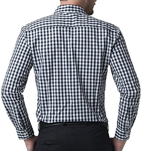 Fashion Formal Casual Dress Shirts for Men Navy Plaid (S) KL-1 CL6299