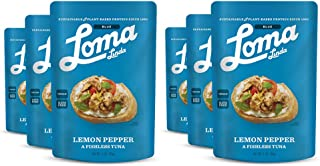 Loma Linda Blue - Plant-Based Meal Solution - Lemon Pepper Fishless Tuna (3 oz.) (Pack of 6) - Non-GMO, Gluten Free