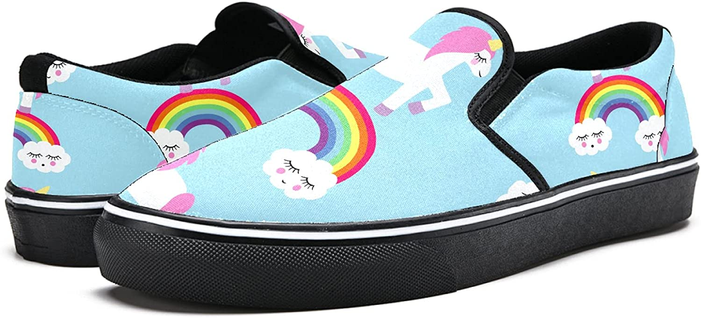 Men's Classic Slip-on Canvas Shoe Fashion Sneaker Casual Walking Shoes Loafers 4 Cute Cartoon Unicorn Rainbow