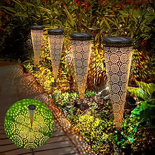 Solarleuchten Garten, 4 Stück Solar Gartenleuchte aus Metall, LED IP65 Wasserdichte Solarlampen für Außen, Garten Solarleuchte Fahrstraßen Lichter Dekoration Licht für Außen Garten Hof Rasen