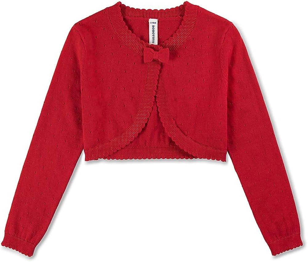 BOBOYOYO Big Girls Cardigan Shrug Ruffle Cropped Knit Sweater Dressy Bolero Jacket White Black Red