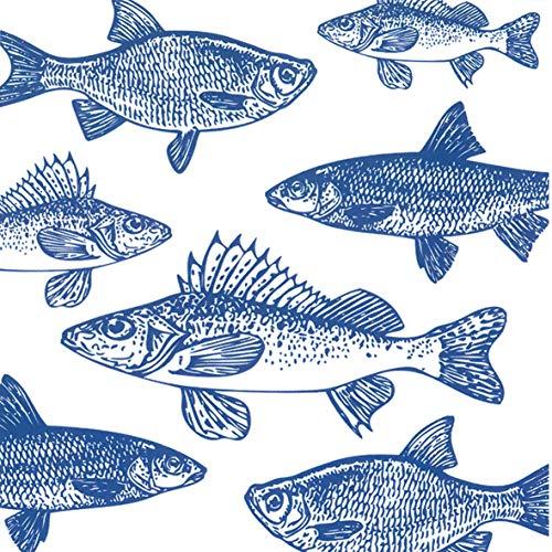 Home Collection Hogar Cocina Decoración Accesorios Set 40 Servilletas Papel Desechable 3 Velos 33 x 33 cm Motivo Peces Azul Diseño Grafico