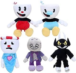 5 Pcs Cuphead & Mugman Plush Toys Mugman The Devil Legendary Chalice King Dice Soft Stuffed Dolls 20-28cm