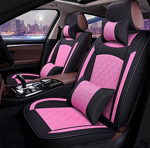 BMDHA Frau Auto Sitzbezug Sitzbezüge Schonbezüge Schonbezug Universal Flachs Materialien, Komplettsitze 5 Stücke,Pink