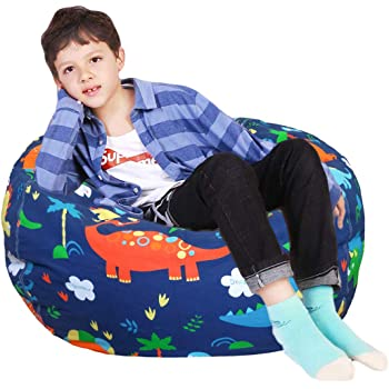 Lukeight Stuffed Animal Storage Bean Bag Chair Cover for Kids and Adults, Storage Bean Bag with Zipper for Organizing Kids Stuffed Animals, Bean Bag Cover (No Beans), Large/Dinosaur