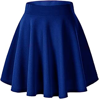 Moxeay Women's Basic A Line Pleated Circle Stretchy Flared Skater Skirt
