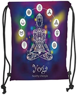 Drawstring Backpacks Bags,Yoga,Meditating Crossed Legged Lotus Pose Woman with Seven Chakra Symbols Abstract Mystic,Multicolor Soft Satin,5 Liter Capacity,Adjustable String Closure