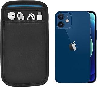 (ポケット付) iPhone 12 mini 専用 JustFit スリーブケース (ブラック/ブルー) 専用設計だからジャストフィット Lightningケーブル イヤホン などが収納出来るポケット付 IP12MJFSCBB