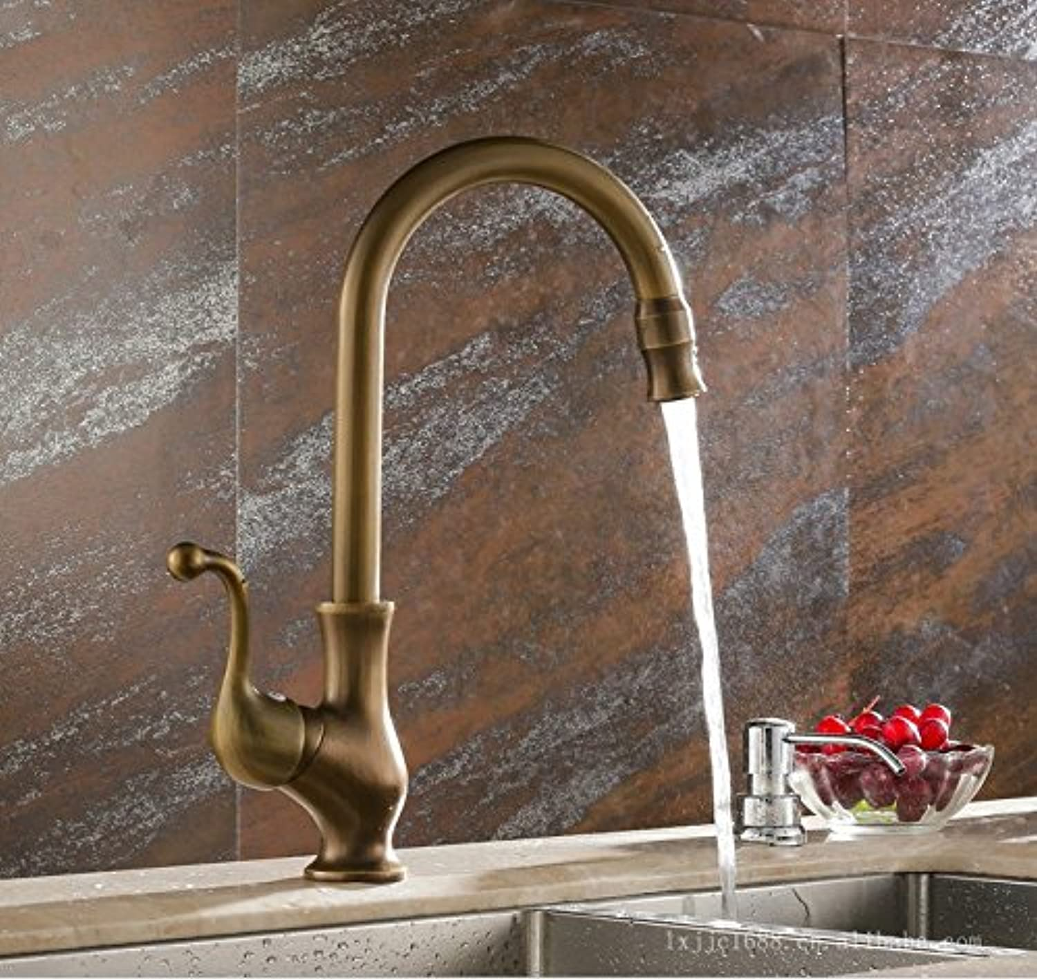 Mangeoo Faucet Kitchen Faucet, All Copper Antique Hot And Cold Water Tank Faucet, European 360 Degree Swivel Washing Vegetable Basin Faucet.