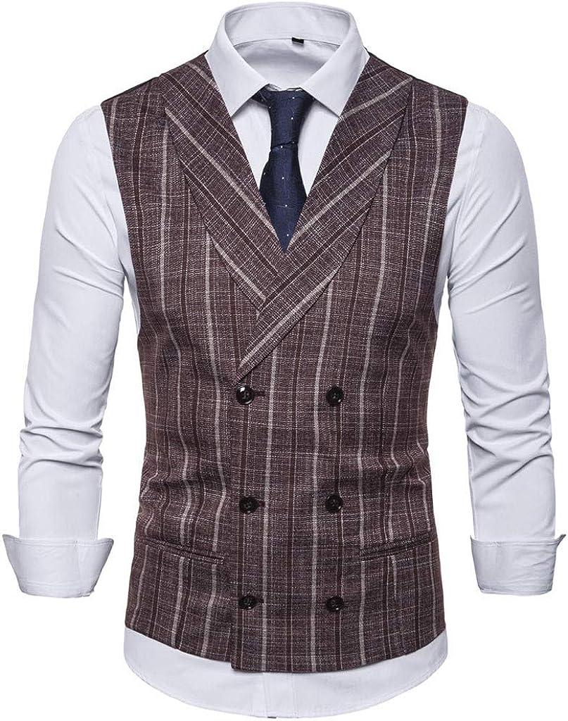 Men's Plaid Suit Vest Double Breasted Casual Waistcoat Lapel Business Suit Vest