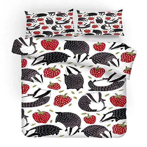 Bettwasche Bettbezug Set 135x200 cm Mikrofaser Erdbeere 3D Digital Drucken Bettbezüge Set und Kissenbezug Betten Schlafzimmer - 1 Bettbezug + 1 Kissenbezüge