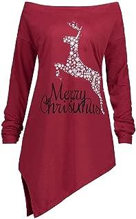 Ackful Women Off Shoulder Letter Christmas Elk Print Long Sleeve Pullover Top Blouse T-Shirt
