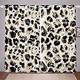 Homewish Juego de cortinas abstractas con estampado de leopardo para ventana, diseño de leopardo de guepardo, para dormitorios infantiles, cortinas modernas con ojales, 167,6 x 228,6 cm