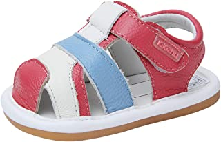 Baby Summer Sandals Genuine Leather Rubber Sole Outdoor Shoes for Boys Girls 9-30 Months