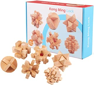 c241693b1950 Chonor 6 en 1 Cubo Rompecabezas 3D de Madera del Enigma Juego Puzle -  Clásica de Cerradura de Brain Teaser Puzzle IQ Juguetes para Niños y Adultos  - Idea ...