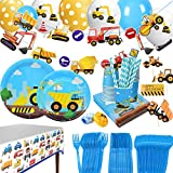 Construction Themed Birthday Party Supplies for Boys - Dump Truck and Tractor Party Decorations Set For Kids,Include Plates,Cups,Napkins,Balloon,Tablecloth and Banner,24 Guests,235 Pcs