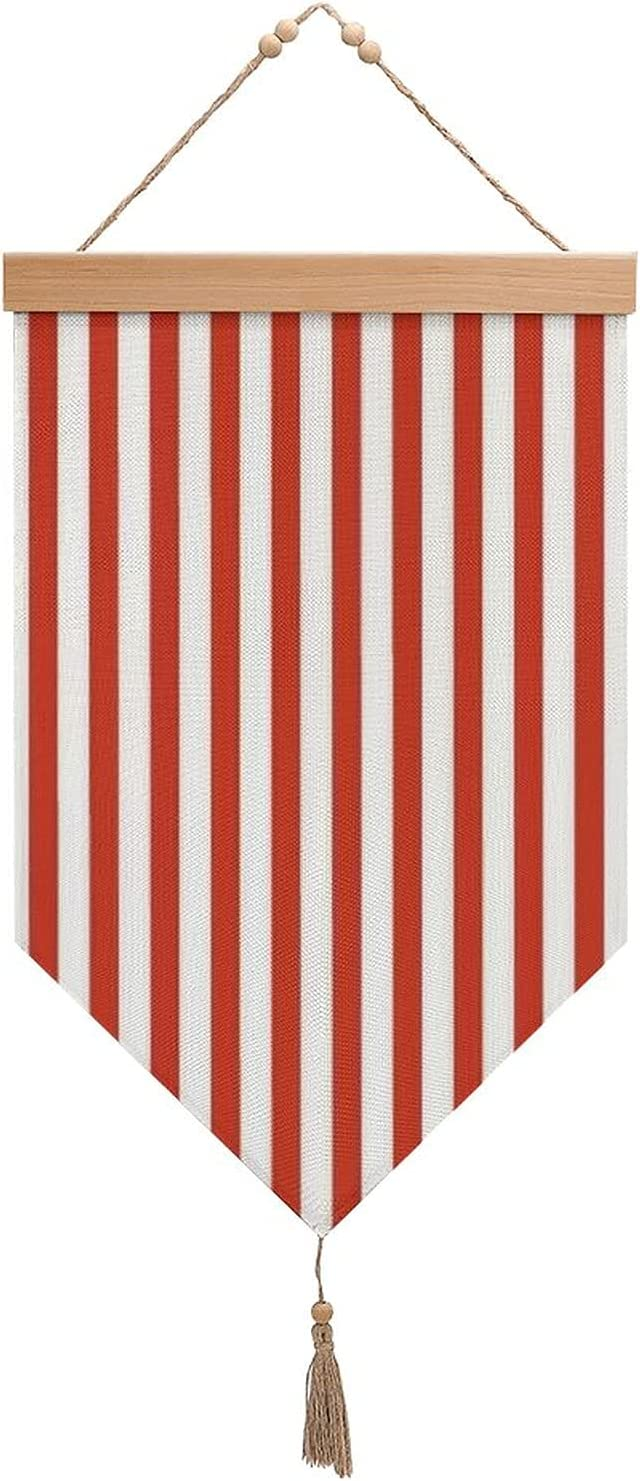 Small Popcorn Stripe Cotton And Max 82% OFF Exhibit Linen Shipping included Tassels Flags With