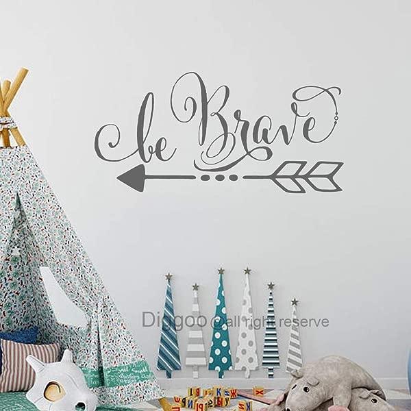 Diggoo 勇敢的墙壁贴花波西米亚箭头墙壁贴花儿童墙壁艺术鼓舞人心的墙壁文字男孩房间装饰灰色 20 H X 40 W