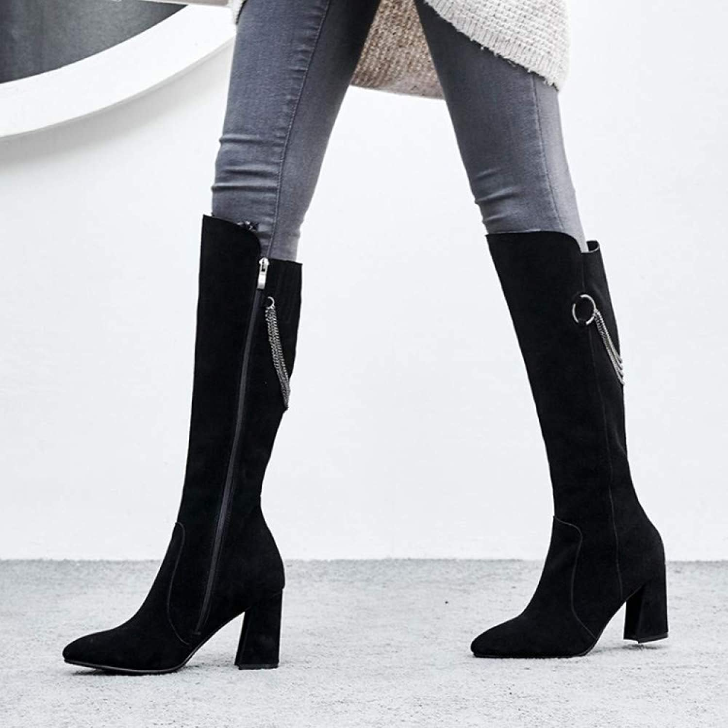 Women Suede Knee Boots Autumn Winter High Heel Side Zipper Chain Knight Boots