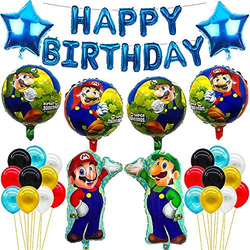 CYSJ Decorazioni Feste Super Mario 30 PCS Mario Decorazioni di Compleanno,Mario a Tema Festa di Compleanno Palloncini,Happy Birthday Party Supplies Kit