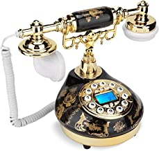 $40 » Antique Phone, Retro Ceramic Gold Flower Pattern Old Style Classic Landline Telephone with Dual FSK/DTMF System Caller ID ...