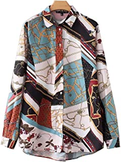 Mujeres Vintage Cadena Patchwork Estampado Delantal Camisa Blusas Mujeres Negocios Casual Manga Larga Retro Tops