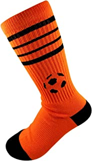 Retro Striped Crew Style Cotton Socks w/Soccer Logo (1 Pair)