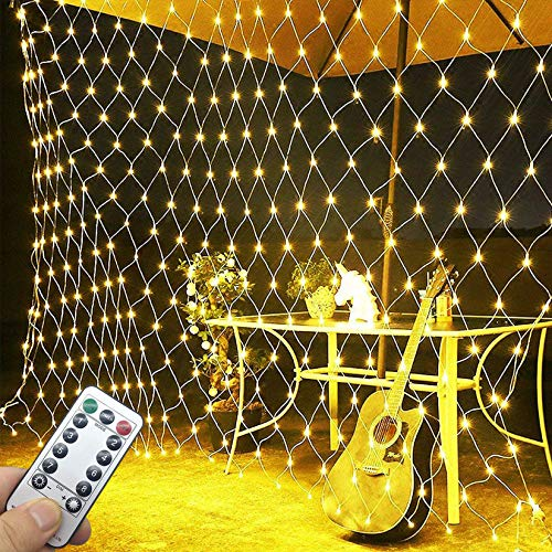 LED Net String Lights LED Net Mesh Fairy String Lights 3 * 2M Decorative Lights 200 LED Christmas Warm White Net Lights with Remote Timer Connectable for Christmas Trees Bushes Wedding Garden Outdoor