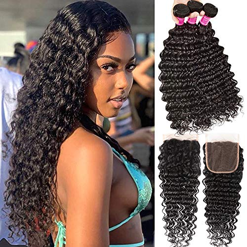 Brazilian Deep Wave Bundles with Lace Closure Deep Wave Human Hair Curly Extension Brazilian Deep Weave Bundle with 4x4 Free Part Closure Wlily Hair (14 16 18+12)