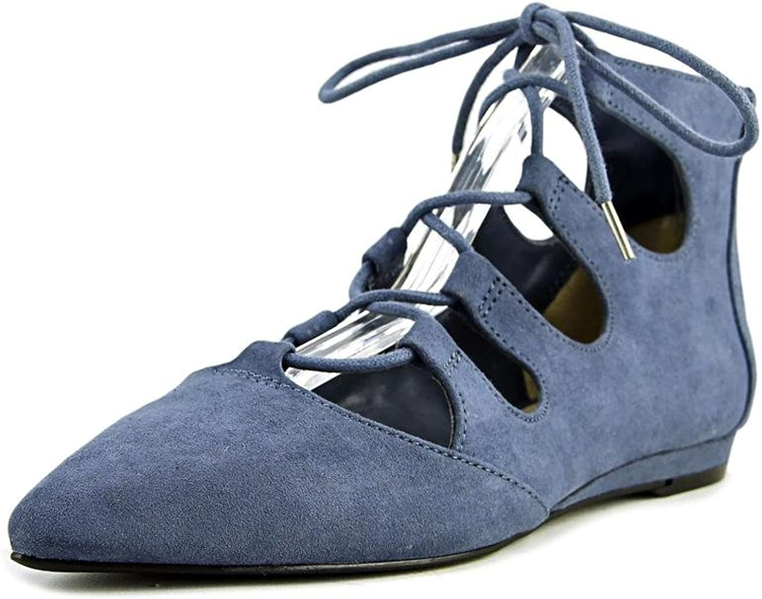 Bar III Womens Lasso Fabric Pointed Toe Ankle Strap Ballet Flats