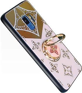 YUYIB Galaxy s9 ケース リング付き キラキラ ギャラクシーs9 カバー かわいい 花柄 軽量 薄型 耐衝撃 おしゃれ かわいい 女性 人気 携帯カバー (Galaxy S9, 3ローズゴールド)