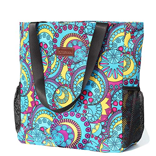 Original Floral Water Resistant Large Tote Bag Shoulder Bag for Gym Beach Travel Daily Bags Upgraded ([M] Pattern)